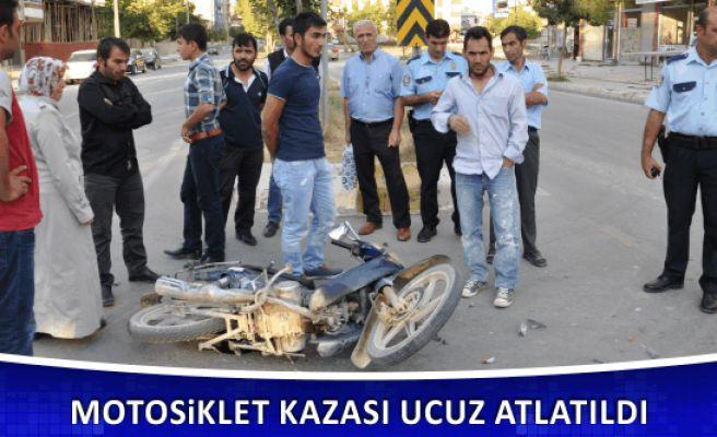 Motosiklet Kazası Ucuz Atlatıldı