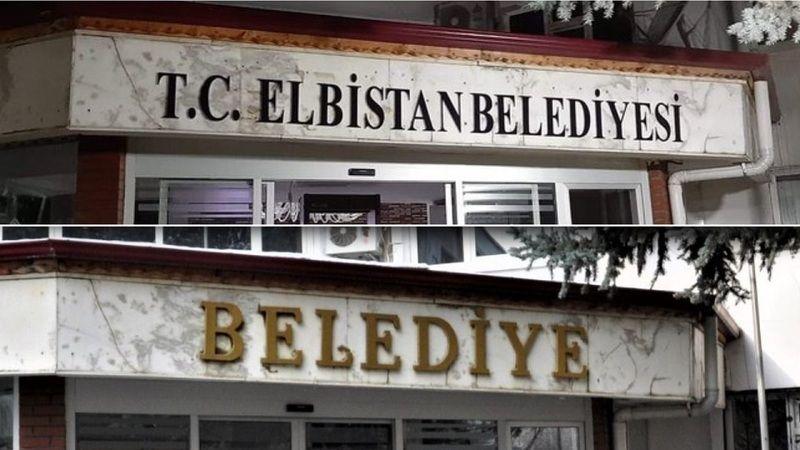 Elbistan Belediyesi tabelasına T.C. ibaresi eklendi