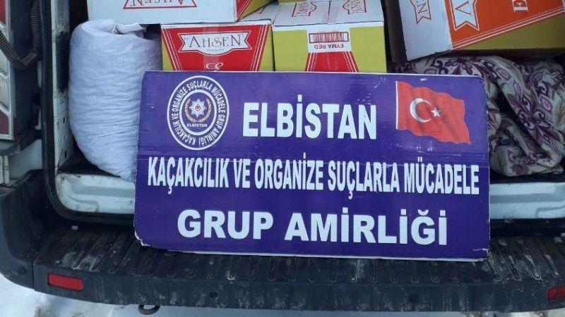 Elbistan'da piyasa değeri 80 bin TL olan kaçak çay ve sigara ele geçirildi