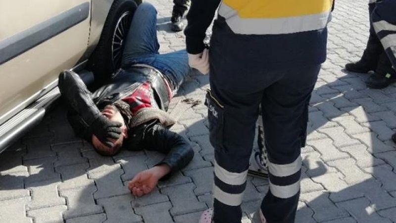 Uyanık sürücü, polis ehliyet isteyince kendisini yere attı