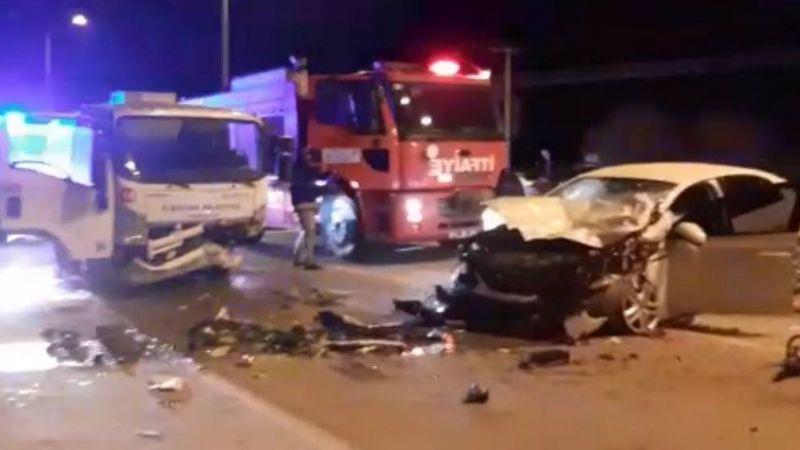 Elbistan'da çöp kamyonu ile otomobil çarpıştı: 1 yaralı