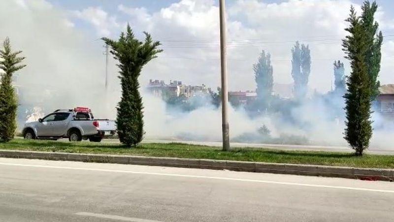 Elbistan'da fırtına: Kopan elektrik telleri yangın çıkardı!