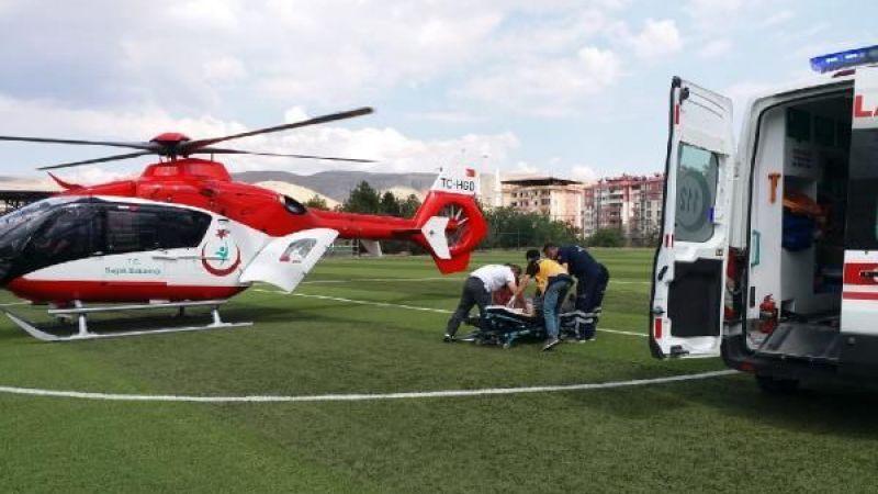 Elbistan'da kalp krizi geçiren hastanın yardımına ambulans helikopter yetişti