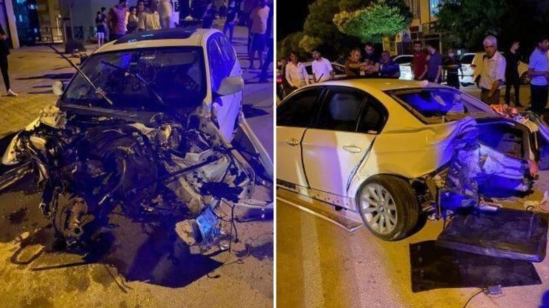 Afşin'de lüks otomobil paramparça oldu: 3 yaralı