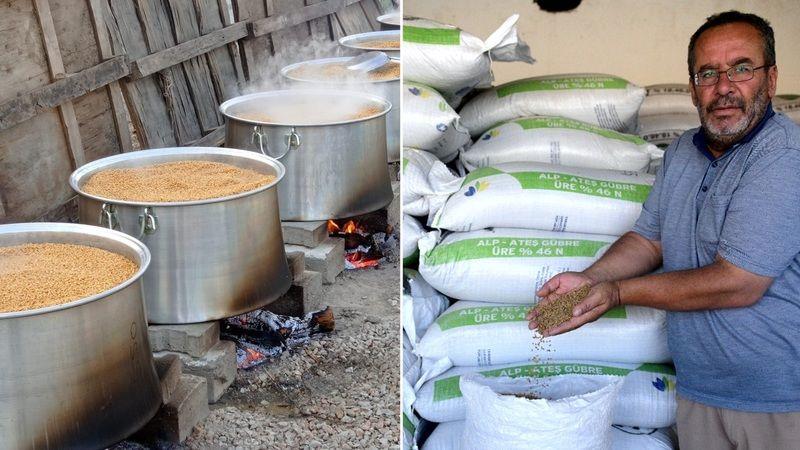 Elbistan'da odun ateşinde kaynayan organik bulgura yoğun talep