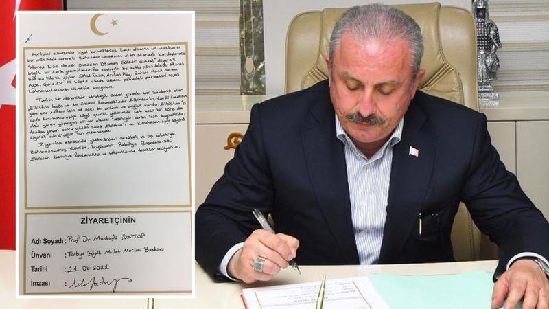 Şentop, Elbistan Belediyesi şeref defterine ne yazdı?