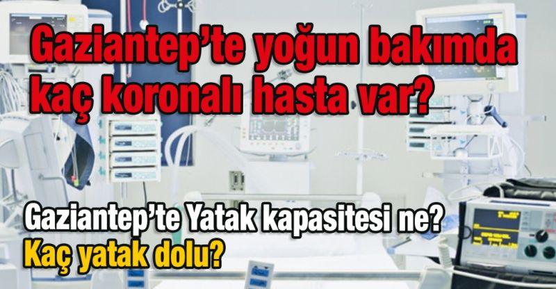 Gaziantep'te yoğun bakımda kaç koronalı hasta var? Yatak kapasitesi ne? Kaç yatak dolu...