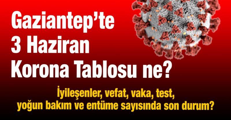 Gaziantep'te 3 Haziran Korona Tablosu ne?  İyileşenler, vefat, vaka, test, yoğun bakım ve entüme sayısında son durum?