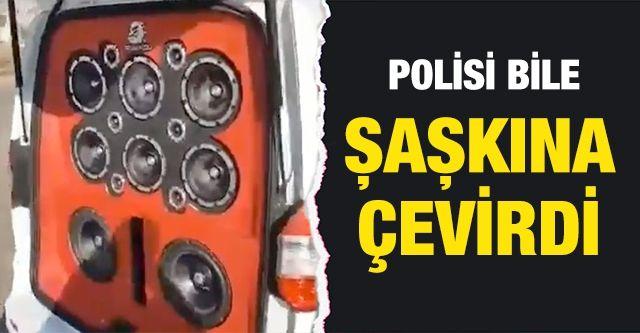 Hafif ticari araçtaki ses sistemi polisi bile şaşkına çevirdi