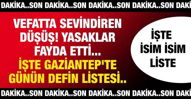 #SonDakika...Hafta Sonu #Gaziantep'te Vefatta Düşüş Yaşandı... #Gaziantep'te Bugün 10.01.2021(Pazar) Ölen Kaç Kişi? #Gaziantep'te Bulaşıcı Hastalık Vefatı Sürüyor Mu? İşte #Gaziantep'te Günün Defin Listesi...