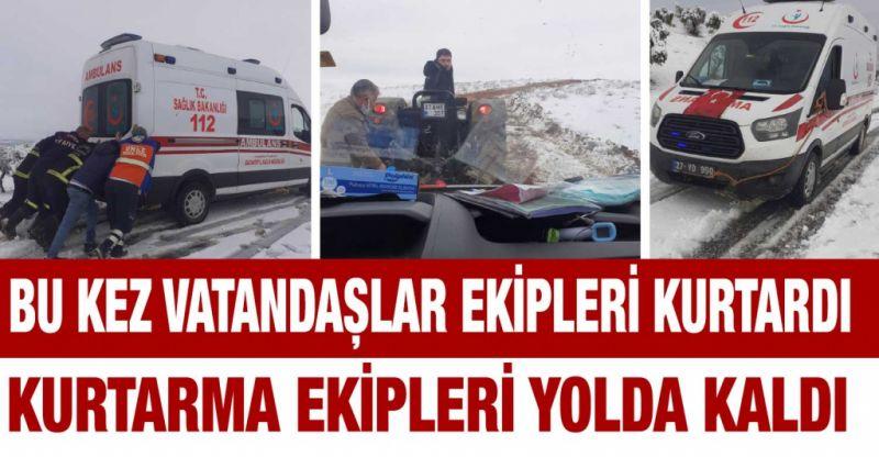 Bu kez vatandaşlar ekipleri kurtardı...Kurtarma ekipleri yolda kaldı