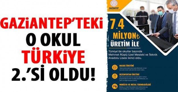 Gaziantep'teki o okul Türkiye 2.'si oldu!