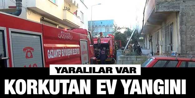 Gaziantep'te ev yangını: 2 yaralı