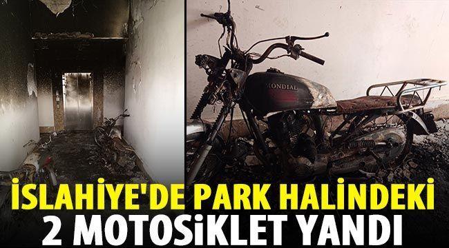İslahiye'de park halindeki 2 motosiklet yandı