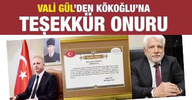 Vali Gül'den Asım Kökoğlu'na teşekkür onuru