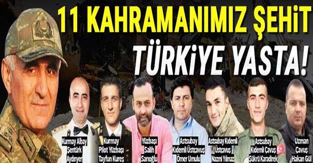Son dakika...Yüreğimize ateş düştü! Bitlis Tatvan'da helikopter faciası: Biri korgeneral, 11 şehit...İşte Şehitlerimizin İsimleri