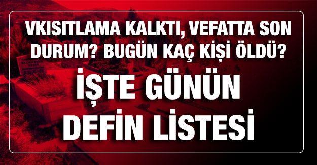 Son dakika Kısıtlama kalktı,6 Mart 2021 Gaziantep'te vefat edenlerin listesi Gaziantep'te 06 Mart 2021 Cumartesi günü Defin Listesi