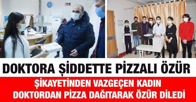 Doktora şiddette pizzalı özür