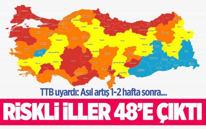 Sağlık Bakanlığı'nın haritasında riskli illerin sayısı 48'e çıktı! TTB: 'Asıl artış 1-2 hafta sonra'