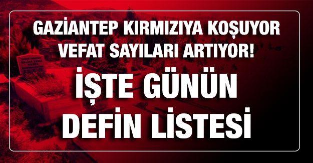 Son dakika...Gaziantep Kırmızıya Koşuyor, Vefat Sayıları Artıyor, İşte Günün Defin Listesi