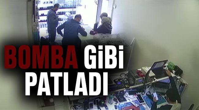 Gaziantep'te telefon bataryasının patlaması güvenlik kamerasında