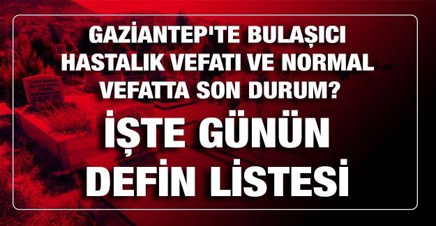 Son dakika... Gaziantep'te Bulaşıcı hastalık vefatı ve normal vefatta son durum? Bugün kaç kişi öldü? İşte Gaziantep'te günün defin listesi