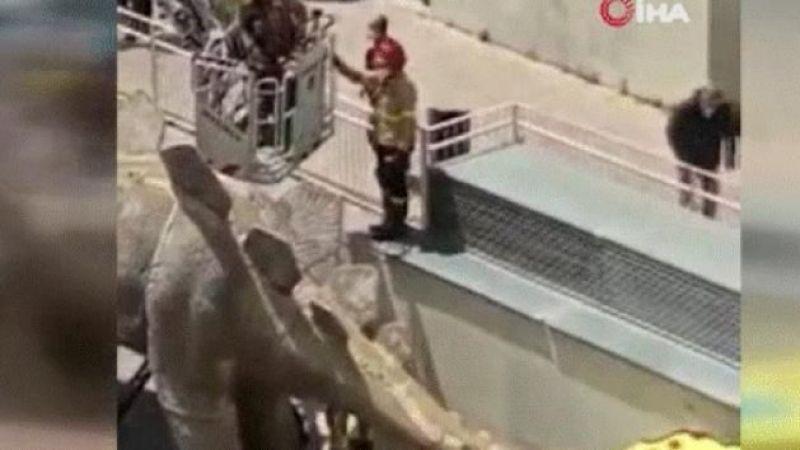 Kayıp adamın cesedi dinozor heykelinin içinden çıktı