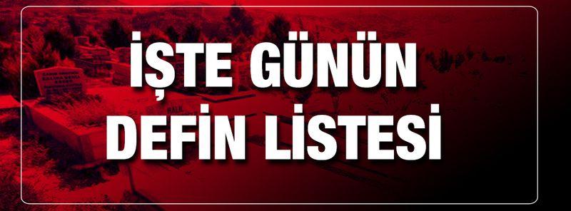 Gaziantep'te günün defin listesi