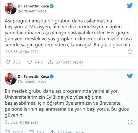 Son Dakika...Gaziantep Dahil! Peş Peşe Aşı Müjdesi!Bakan Koca peş peşe duyurdu: Aşılamaya iki grup daha dahil edildi