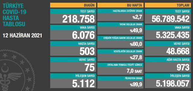Son Dakika: Türkiye ve Gaziantep'te 12 Haziran günü koronavirüs nedeniyle 75 kişi vefat etti, 6 bin 76 yeni vaka tespit edildi