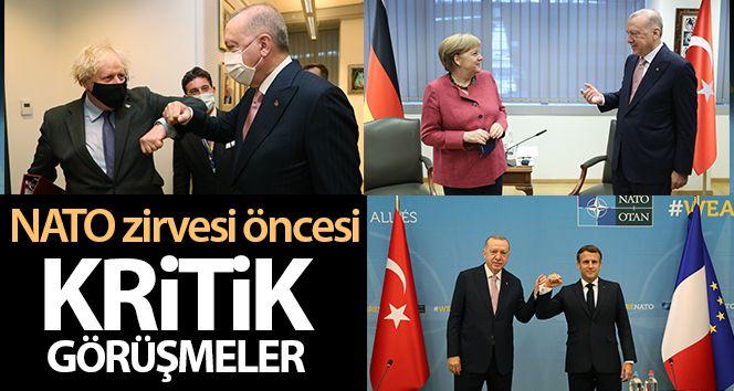 Cumhurbaşkanı Erdoğan'dan NATO zirvesi öncesinde önemli görüşmeler