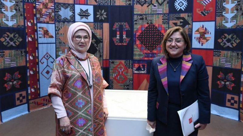 Fatma Şahin, Beştepe'de düzenlenen dokuma atlası sergisine katıldı