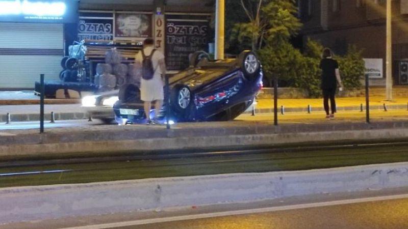 Gaziantep Rasaf yolunda şok kaza! Otomobil takla attı…