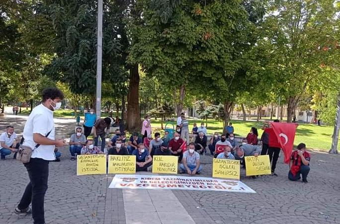 Gaziantepspor çalışanları eylem yaptı