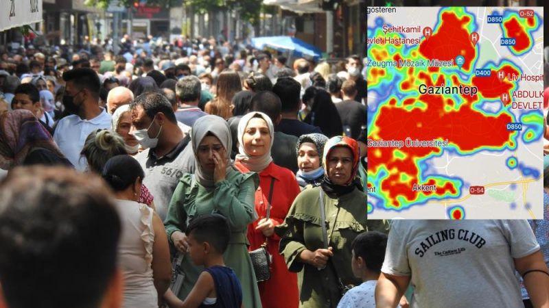 Gaziantep'te kırmızı olan mahalleler neresi?