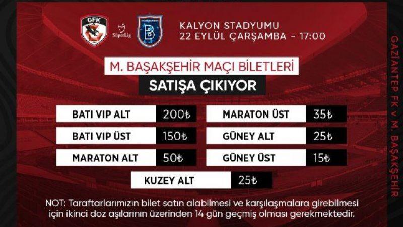 Gaziantep FK Başakşehir maçı biletleri satışa çıktı