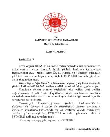 Son Dakika: Türk Vatandaşlarının İnfaz Emrini Veren  DAEŞ Terör Örgütü Üyesi Gaziantep'te Tutuklandı!Başsavcılık açıkladı!