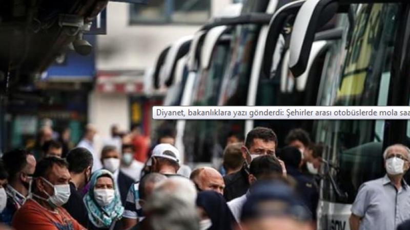 Diyanet'ten Bakanlıklara yazı: Şehirler arası otobüslerde molalar namaz vakitlerine göre belirlensin