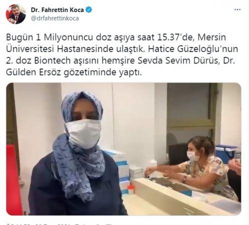 Bakan Koca: 1 milyonuncu doz aşı Mersin'de yapıldı