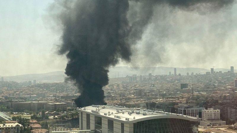 Ankara'da tren garında korkutan yangın!