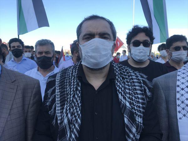 Konya'da İsrail'in Filistinlilere saldırıları konvoy oluşturularak protesto edildi
