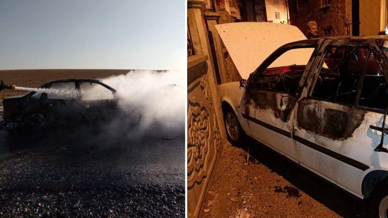İki ayrı ilçede iki araç yandı