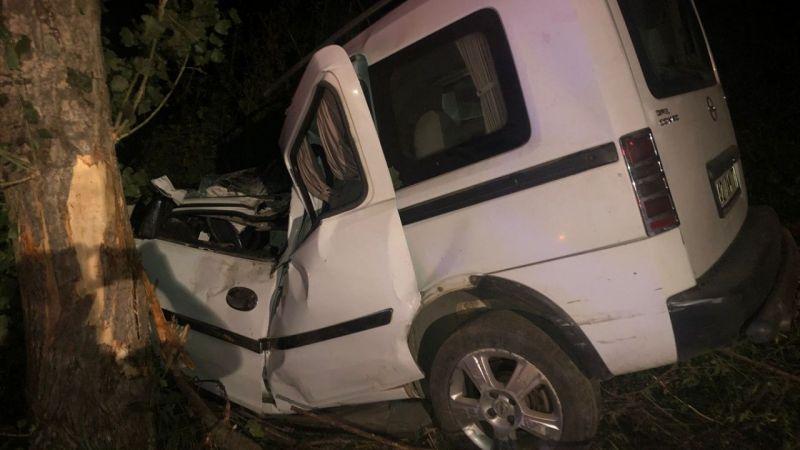 Ağaca çarpan kamyonetin sürücüsü öldü