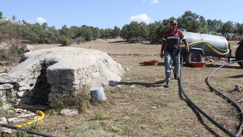 Kuraklık nedeniyle yaylalardaki çeşme ve kuyularda su bitti, besiciler yeni çözüm üretti
