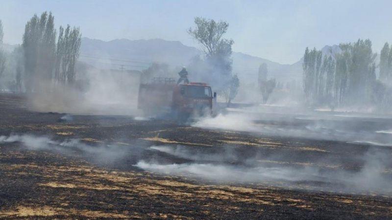 Konya'da buğday hasadı yapılan tarlalarda korkutan yangın