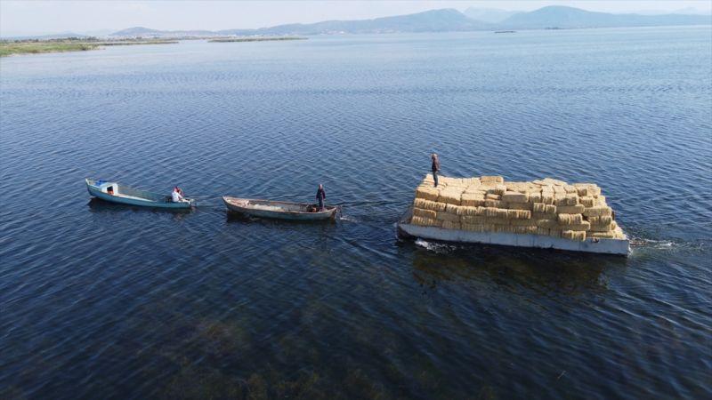 """Adadaki saman balyalarını Beyşehir Gölü'nden """"duba"""" aracılığıyla karşı kıyıya taşıyorlar"""