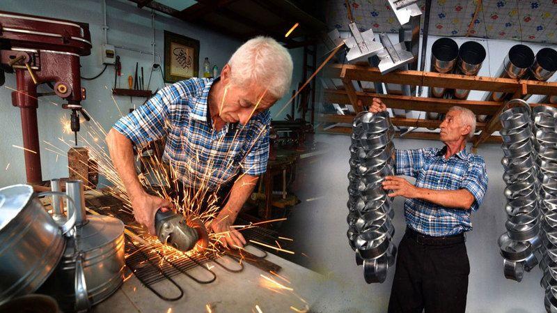Teneke ustası, ata mirası mesleğini 40 yıldır sürdürüyor