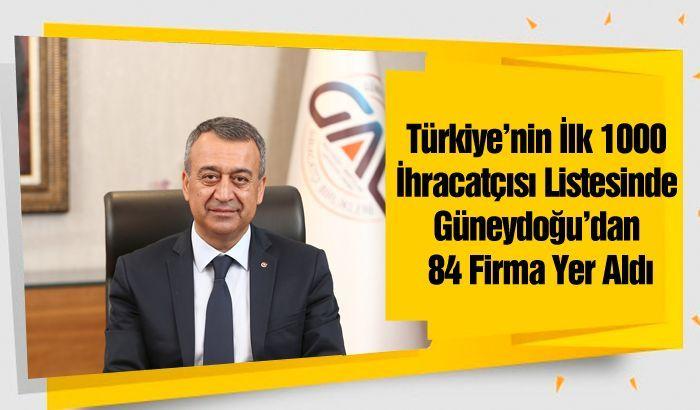 Türkiye'nin İlk 1000 İhracatçısı Listesinde Güneydoğu'dan 84 Firma Yer Aldı