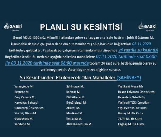 DİKKAT!!! GAZİANTEP'TE SU KESİNTİSİ...