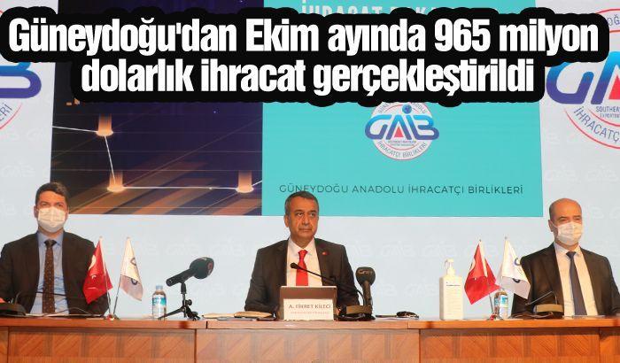 Güneydoğu'dan Ekim ayında 965 milyon dolarlık ihracat gerçekleştirildi